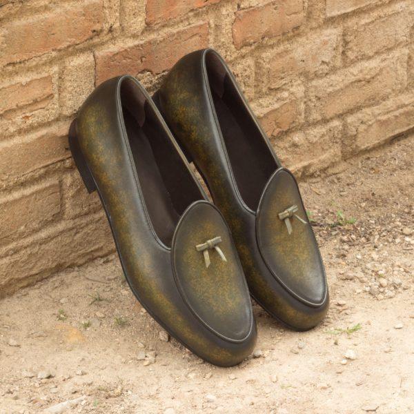Green leather Belgian Slipper SPA patina insitu