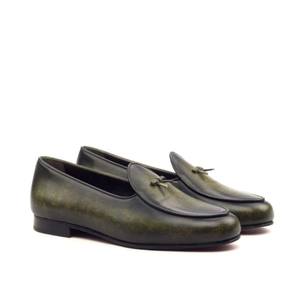 Patina Leather Belgian Slippers SPA green