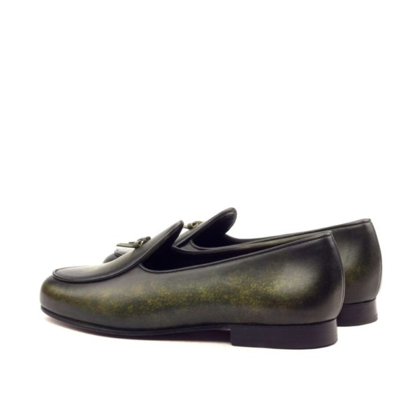 patina leather Belgian Slippers SPA green rear