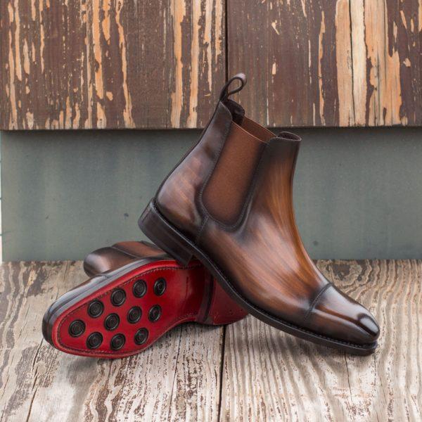brown patina leather Chelsea Boot LAGAN insitu