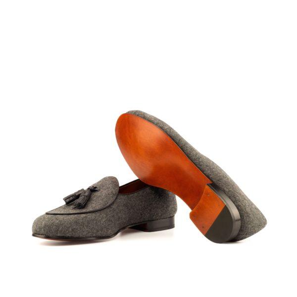 fine leather soles on grey Belgian Slipper loafers with tassels LOMMEL
