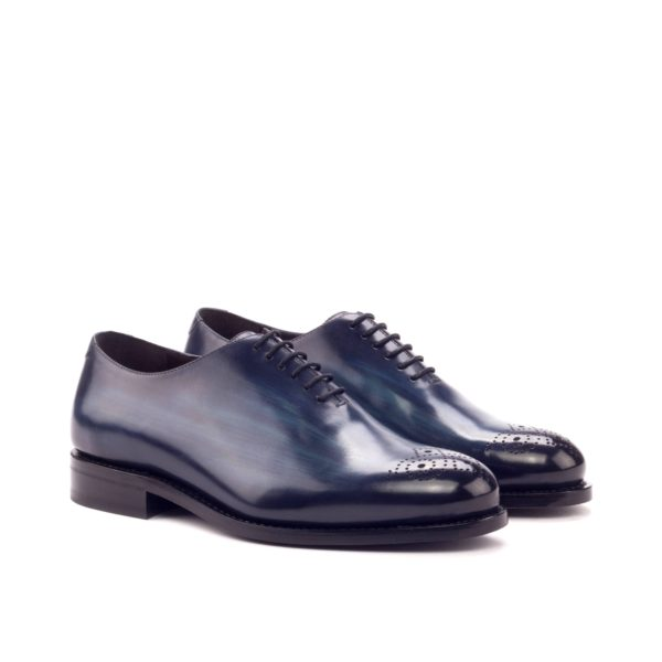 punched toe patina leather Wholecuts navy blue ANGELO