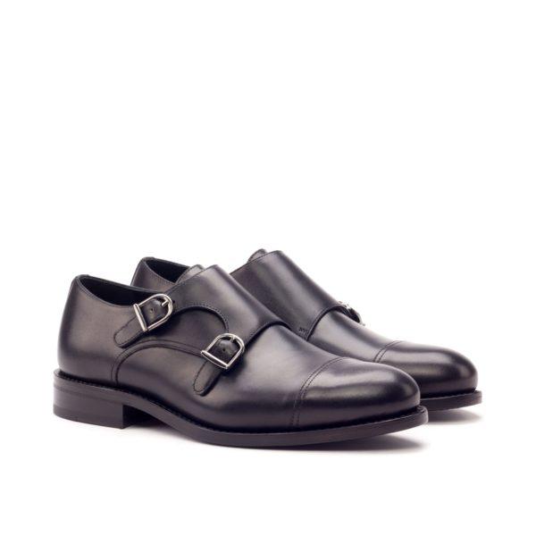 Leather Double Monks NERO black calf