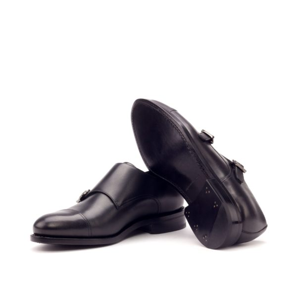 Black Double Monk Shoes NERO goodyear leather soles