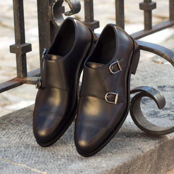 Leather Double Monks NERO plain toecaps insitu