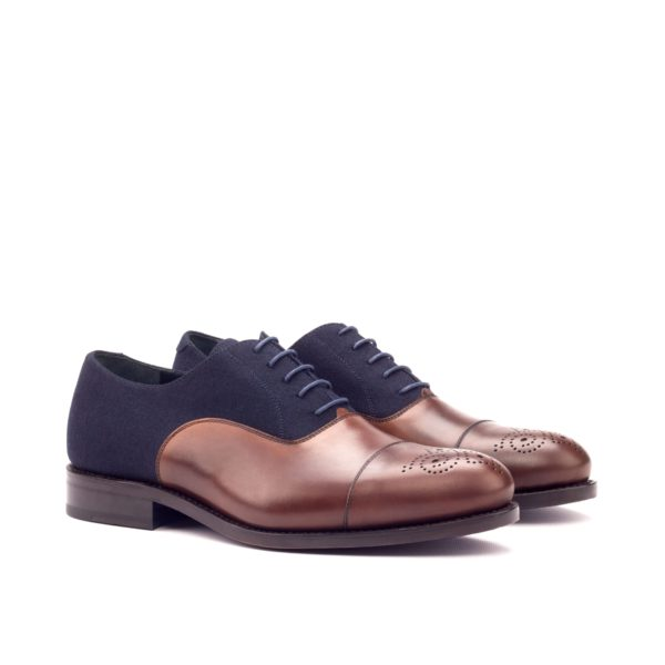 navy flannel brown leather Oxfords DOMBEY