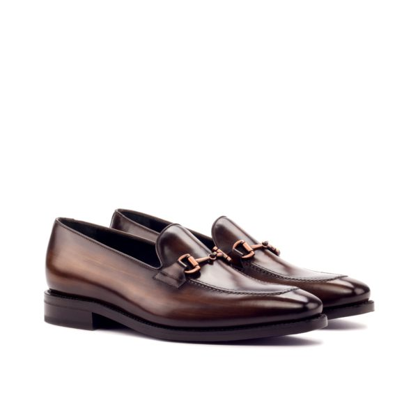 brown Patina leather Loafers with goodyear welted soles ABANY