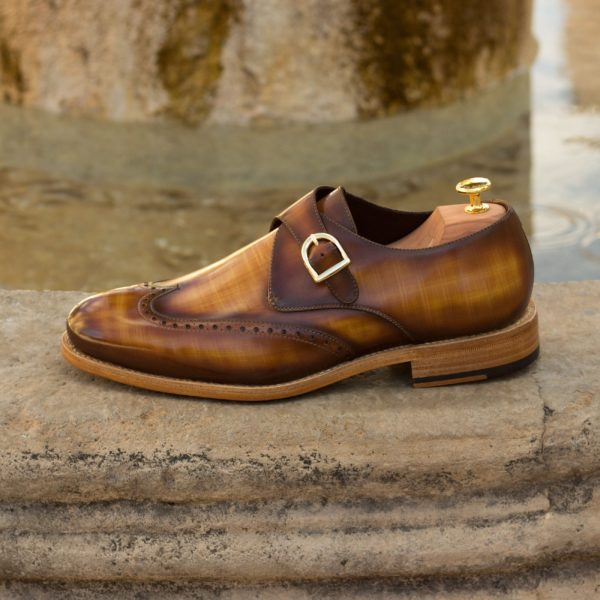 patina leather tan Single Monk shoes ABSOL