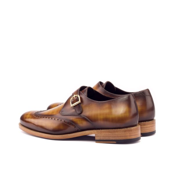 brown patina leather Single Monk shoe ABSOL