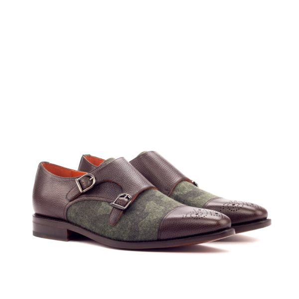 camouflage flannel & brown leather Double Monk shoes ANSILIO