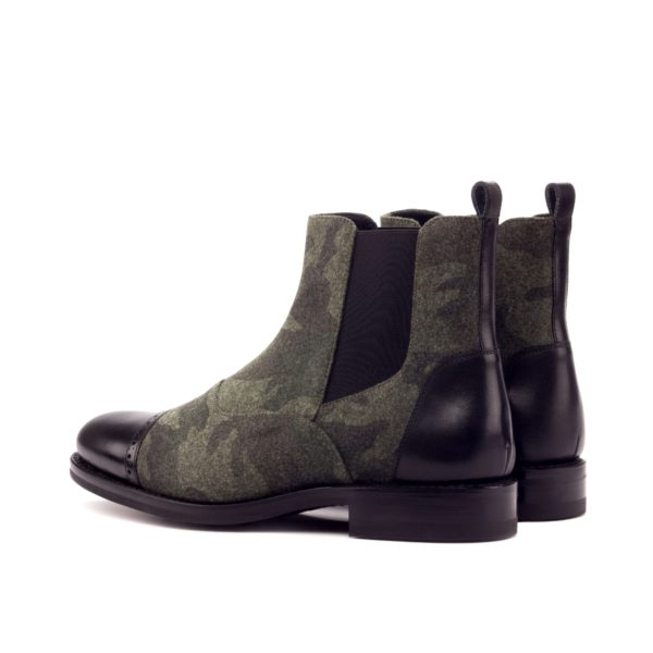 rear contrast black leather heel trim on camo Multi-Panel Chelsea Boots ALFRED