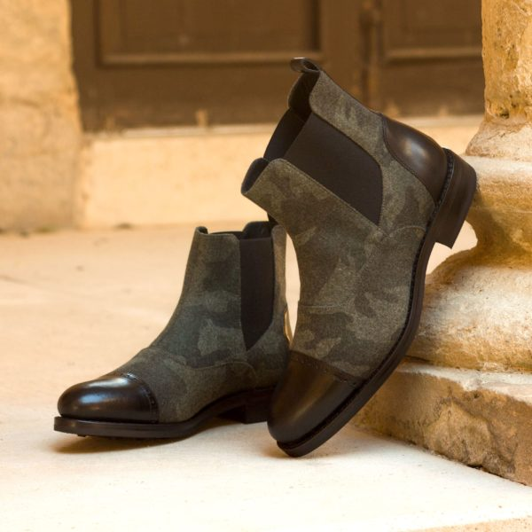 camo flannel and black leather Multi-Panel Chelsea Boots ALFRED