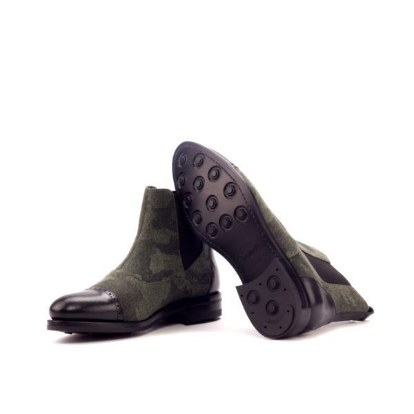 black dainite rubber goodyear welted soles on camo patterned Multi-Panel Chelsea Boots ALFRED