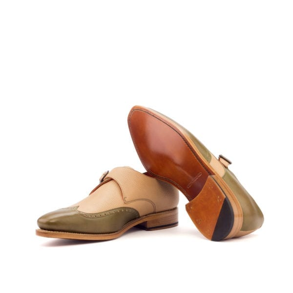 beige leather Single Monk Shoes APPORO