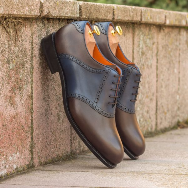 brown leather Saddle Shoes with contrast navy section BRAVOLA
