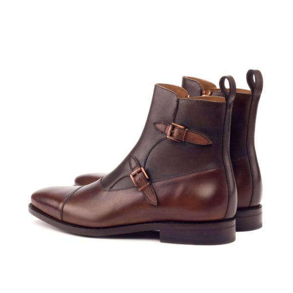 brown Double Monk Boots with copper buckles ROMA