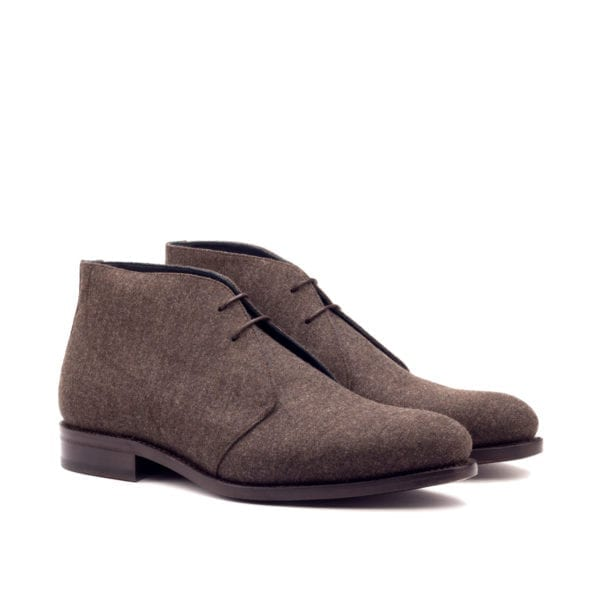 brown flannel fabric covered Chukka Boots for men ADAIR
