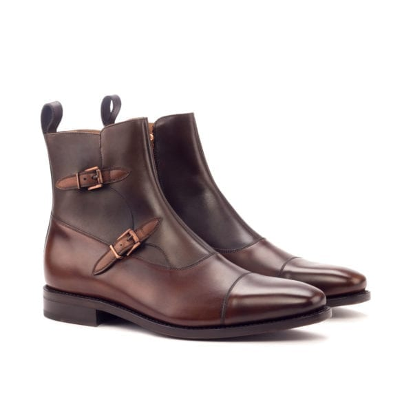 brown leather Double Monk Boots for men ROMA