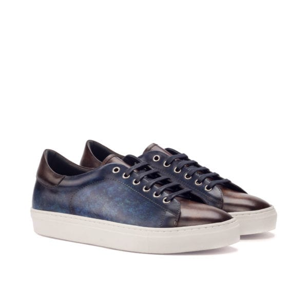 brown and navy Patina leather Trainers BARZAGLI