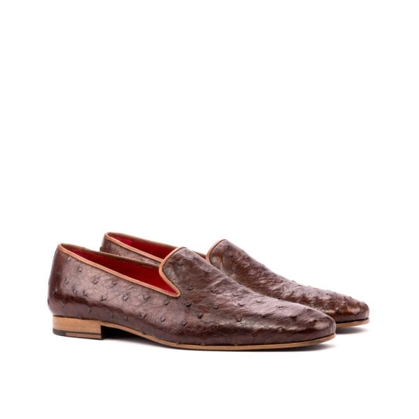 brown Ostrich Slippers for men GRANTHAM