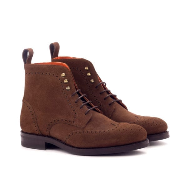 luxury brown suede Brogue Boots for men SNUFFLE