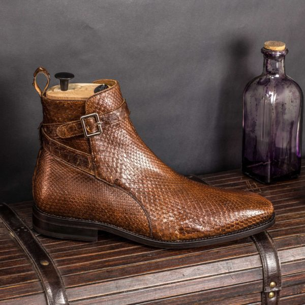 brown real Python buckle Boots for men BRUCE
