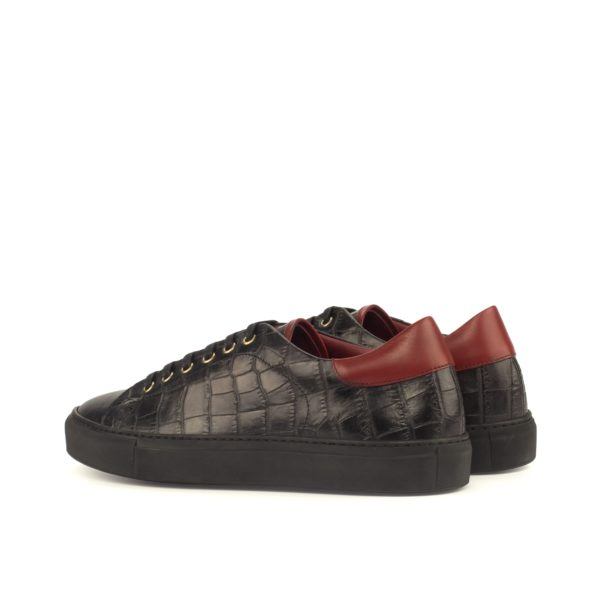 red leather contrast heel detail on black croco Trainers BUFFON