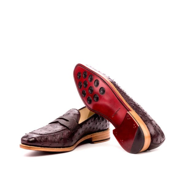 burgundy Ostrich penny Loafers OSTRO