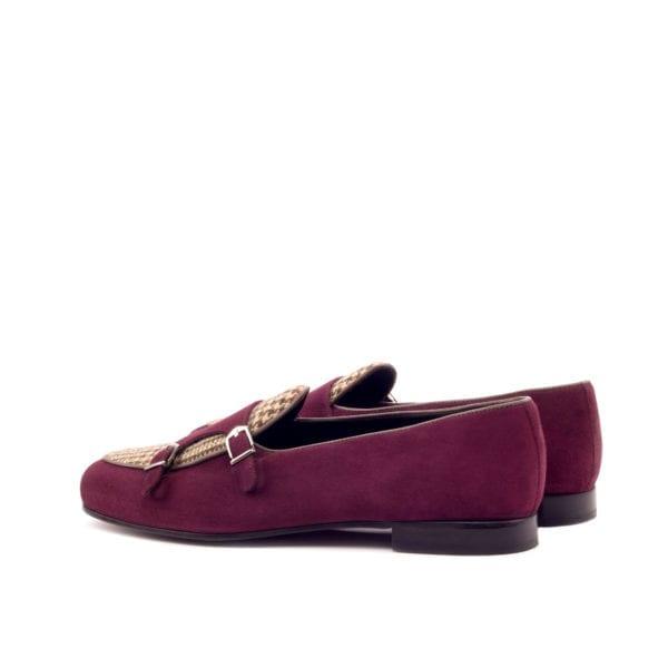 burgundy suede and tweed fabric Monk Slippers ENSOR