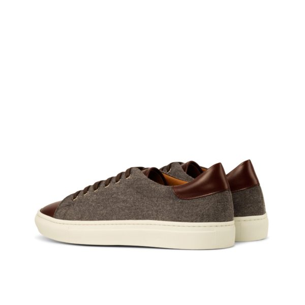 rear brown leather contrast heel on light grey flannel Trainers CHIELLINI