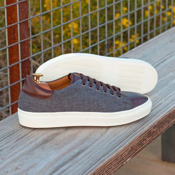 brown leather and grey flannel custom Trainers CHIELLINI