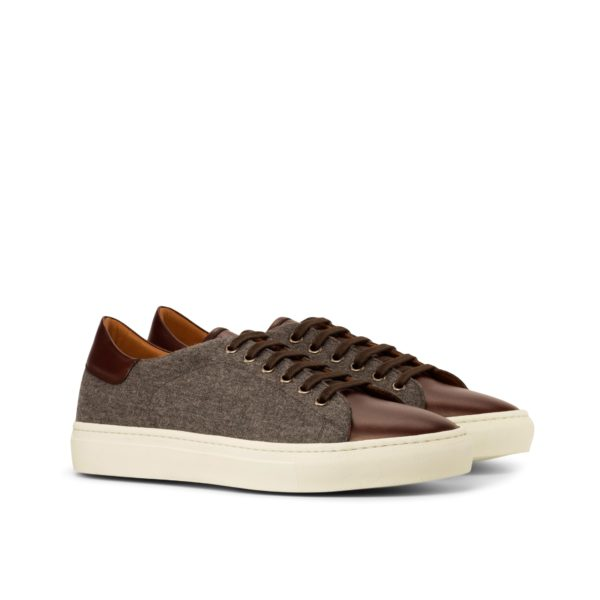 grey flannel Trainers with brown leather section CHIELLINI by Civardi