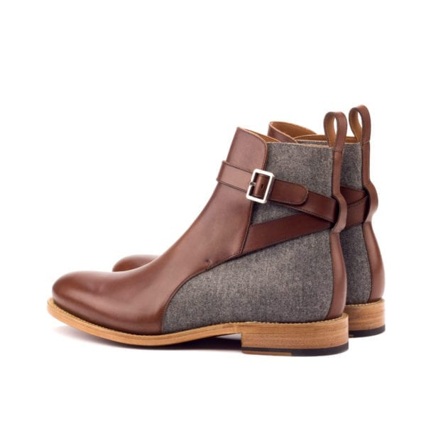 contrasting brown leather and grey flannel Jodhpur Boots BURMO
