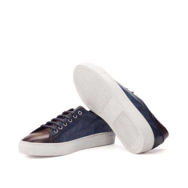 contrast brown and navy Patina Trainers BARZAGLI