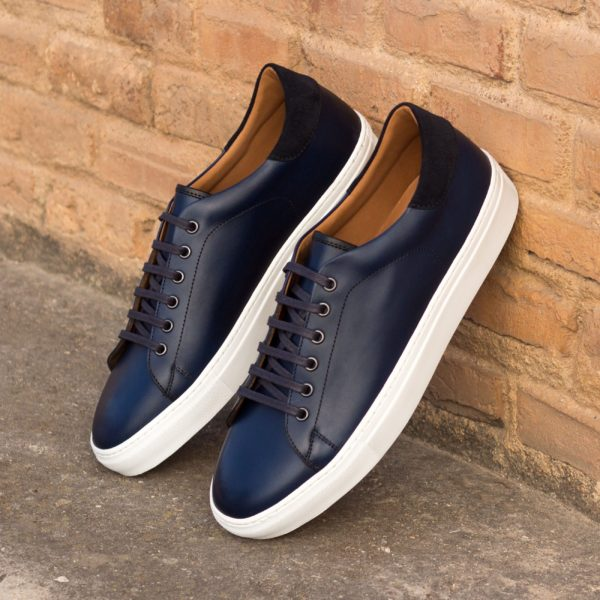 men's Trainers in navy blue calf leather and suede COSTACURTA