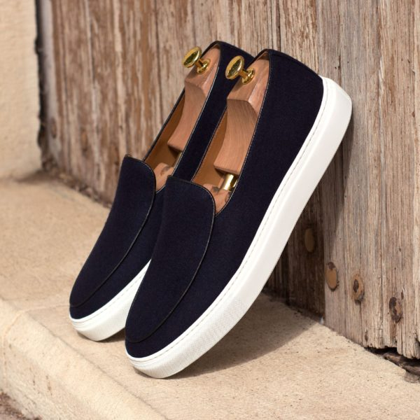 black leather piping navy flannel Belgian Sneakers COURTOIS