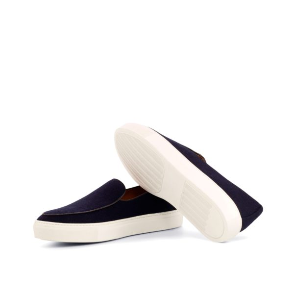 contrasting white rubber soles on navy flannel sneakers COURTOIS