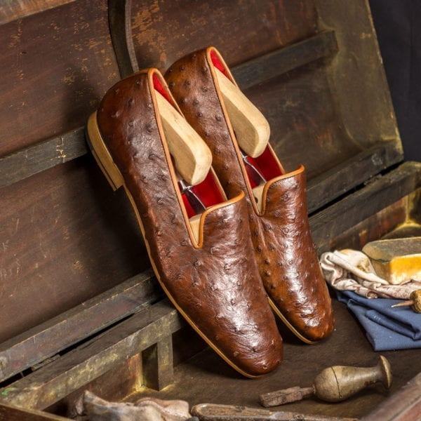 order custom made brown Ostrich Slippers GRANTHAM