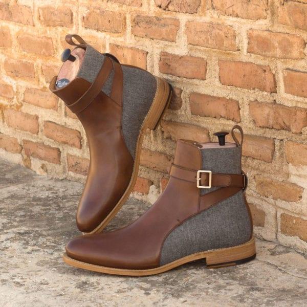 order custom made leather and flannel Jodhpur Boots BURMO