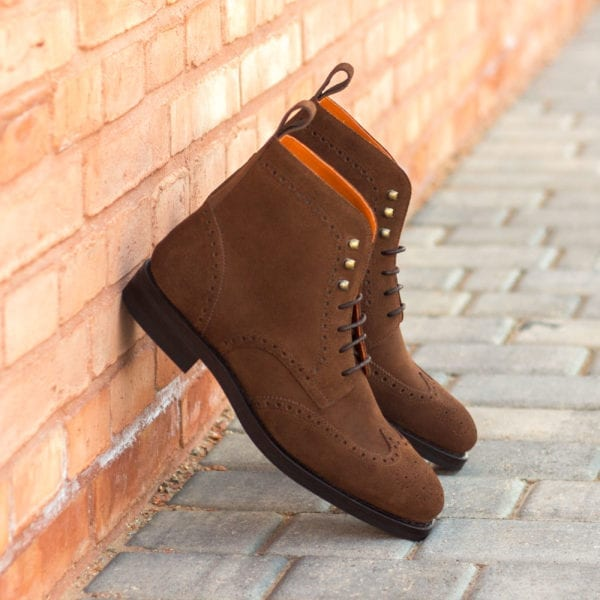 order custom made suede brogue boots for men SNUFFLE