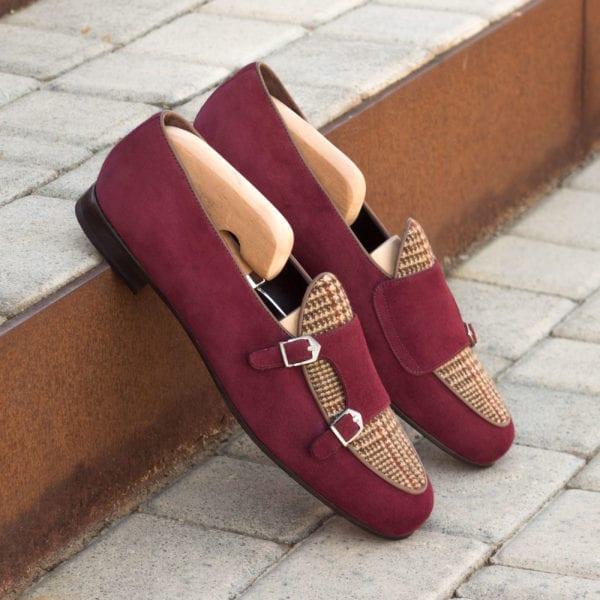 order custom suede and tweed Monk Slippers ENSOR