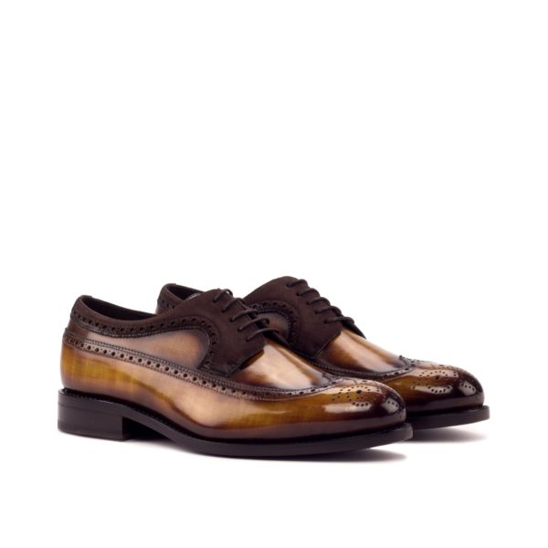 goodyear welted brown patina leather Blucher shoes ACARDO