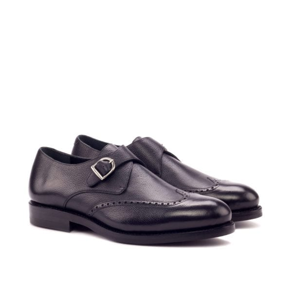black full grain leather Single Monk Shoes CRISPIN