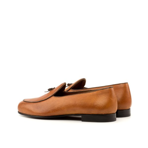rear trim detail showing brown leather contrast piping on Belgian Slippers GHENT