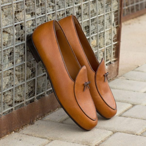 luxurious full grain leather Belgian Slippers with contrast bow trim GHENT