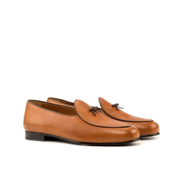 tan full-grain leather with brown trim Belgian Slippers GHENT by Civardi