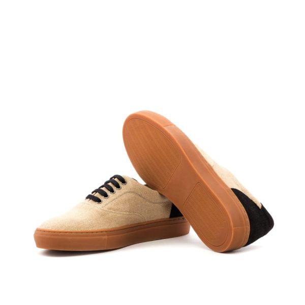 caramel rubber soles on beige linen TopSider Trainers GUERRERO