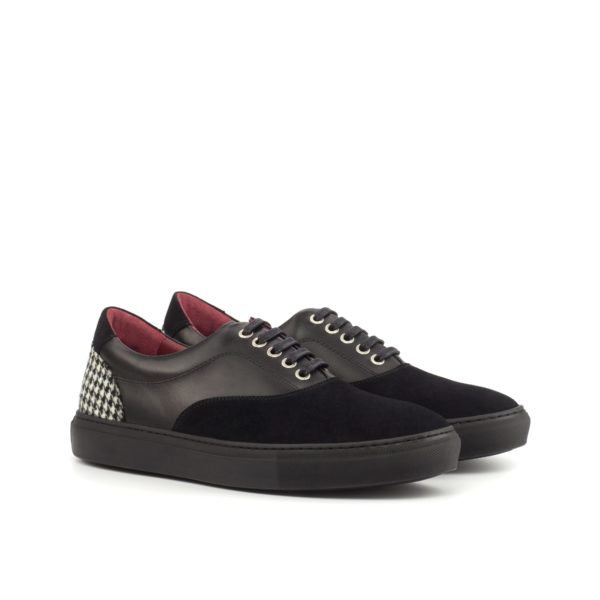 black leather and suede Trainers with contrasting houndstooth fabric HAWK by Civardi