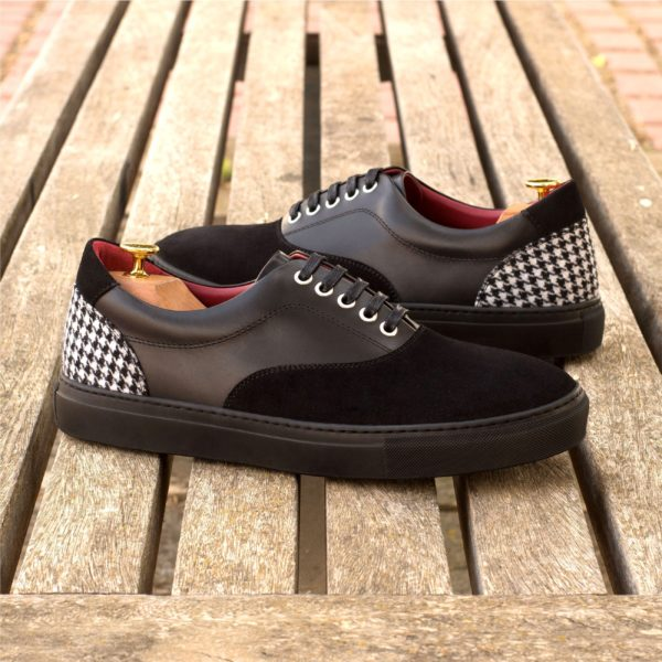 black leather TopSider Trainers with suede and houndstooth fabric HAWK