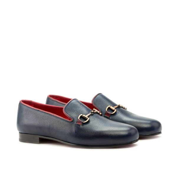 navy full grain leather Slippers with red trim INKWELL by Civardi